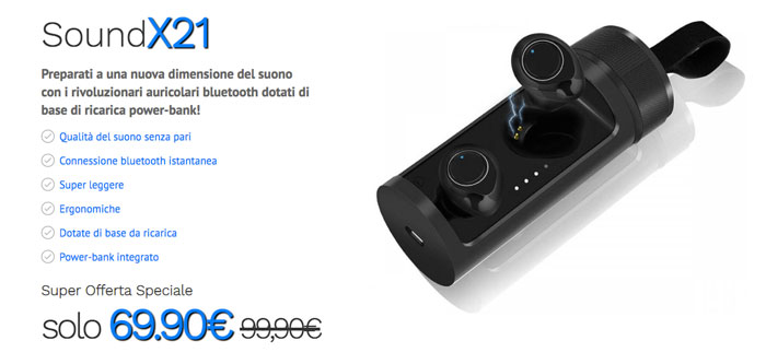 soundx21 auricolari bluetooth